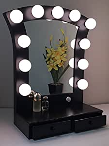 Lighted Vanity Mirror Impressions : Amazon.com - Hollywood Cosmo Lighted Make-up Vanity Back Stage Mirror Black by Impressions Vanity