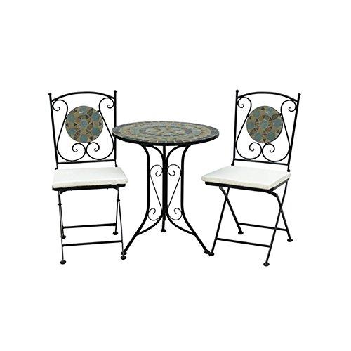 Bentley Garden – Bistro-Sitzgarnitur – Mosaiktisch & 2 Stühle – Schmiedeeisen günstig bestellen