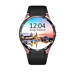 ATECKING Built-in Android 5.1 OS Smartwatch Phone with GPS Google Map Play WiFi Gold