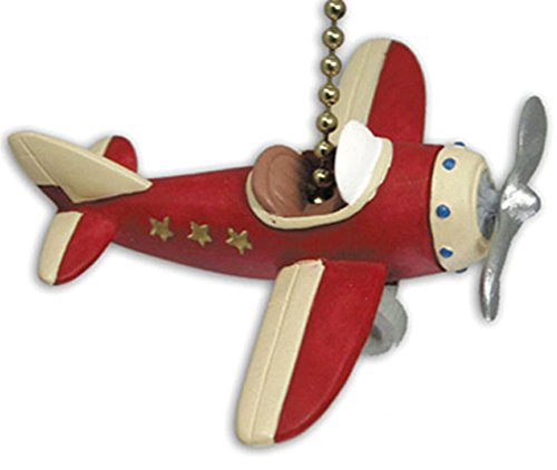 RED PLANE propeller AIRPLANE ceiling FAN PULL chain