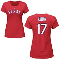 Shin-Soo Choo Texas Rangers Red Ladies Player T-Shirt by Majestic by Majestic