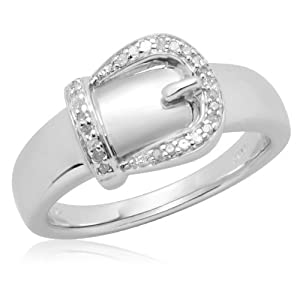 Sterling Silver Buckle Diamond Ring (0.05 cttw, I-J Color, I2-I3 Clarity), Size 7
