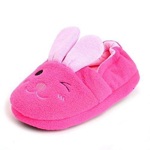 Beeliss Toddler Girls Slippers Cartoon Plush Warm Shoes (6-7 M US Toddler, Rose)