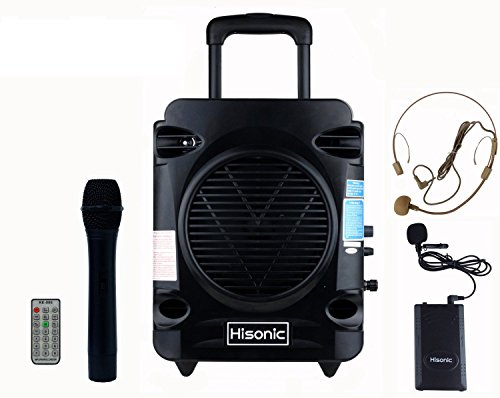 Hisonic Hs700 True Rms 35 Watts Rechargeable & Portable Pa System With Built-In Vhf Wireless Microphones, Bluetooth, Mp3 Player/Recorder & Fm Radio, Remote Control Included, Color Black