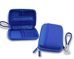ZHPUAT Portable External Hard Drive Case Shockproof Carrying Case + Key Ring with Attached Lanyard - Blue