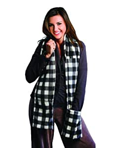 Spa Comforts Microwavable Scarf and Hand Warmer Set, Black-and-White Checks