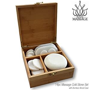 14pc Massage Marble Cold Stone Therapy Set w/Bamboo Case