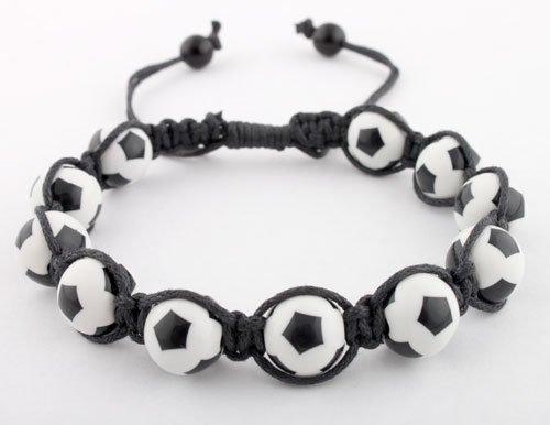 Black with White Soccer Ball Style Shamballah Macrame Stretch Bracelet