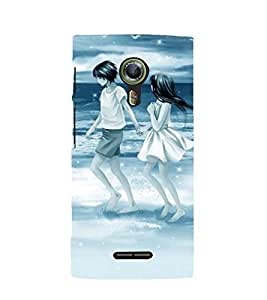 Printvisa Premium Back Cover People On The Beach With Blue Background Design For Alcatel Onetouch Flash 2::Alcatel One touch Flash 2