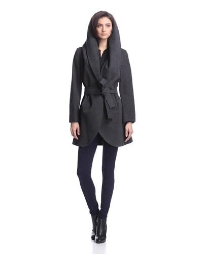 T Tahari Women's Marla Wrap Coat  [Charcoal]