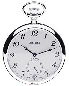 Sterling Silver Pocket Watch Open Faced - 17 Jewel Mechanical Movement