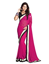 Sourbh Sarees Crimson Faux Georgette Saree Must Have Best Sarees For Women Party Wear, Special Karwa Chauth Gifts...