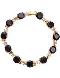 Valentine Gifts : Shining Diva 18k Gold Plated Black Crystal Charm Bangle Bracelet For Girls And Women | Valentine...