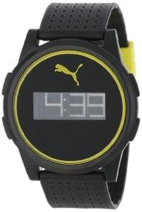 PUMA Men's PU910971002 Flat Coaster Black Yellow LCD Watch