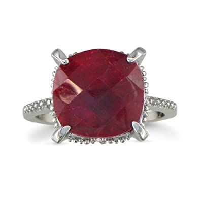 Ruby and Diamond Ring Crafted in Sterling Silver 7 1/2ct tgw: Jewelry