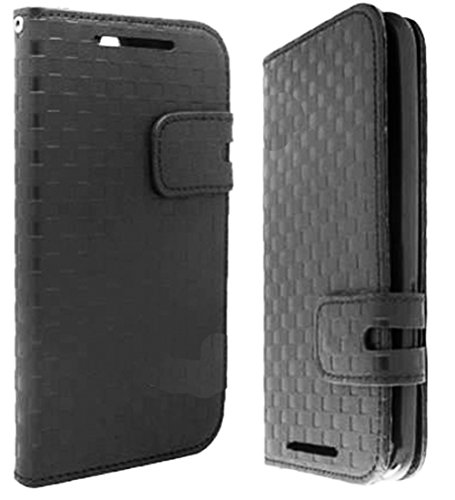 Mylife Dark Black {Woven Checker Design} Faux Leather (Card, Cash And Id Holder + Magnetic Closing) Slim Wallet For The All-New Htc One M8 Android Smartphone - Aka, 2Nd Gen Htc One (External Textured Synthetic Leather With Magnetic Clip + Internal Secure