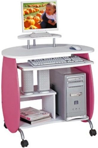 Buy Low Price Comfortable Mad Tech 33x24x32 Pink & White 100% Mdf Construction Computer Office Desk Table (B004W0K6NA)
