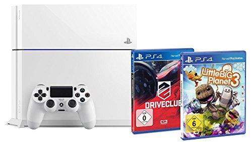 Sony PlayStation 4 500 GB weiss inkl. Little Big Planet 3 + Driveclub
