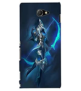 ColourCraft Warrior Girl Design Back Case Cover for SONY XPERIA M2 DUAL D2302