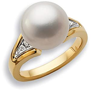 14K Yellow Gold South Sea Pearl With Side Diamond Ring