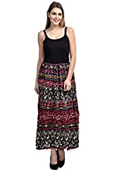 FASHION By The BrandStand Women's Cotton Skirt (VS_SKT9011-Multi-Red_L, Multicolor, Large)