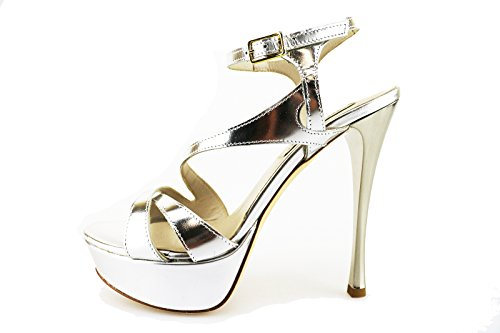 GIANCARLO PAOLI 37 EU sandali argento pelle lucida AG80