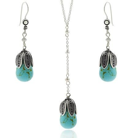 Sterling Silver .925 Reconstituted Blue Turquoise Stone Leaf Petal Bead Dangle Hook Earrings & Y Necklace 18.5-19.5 Jewelry Set