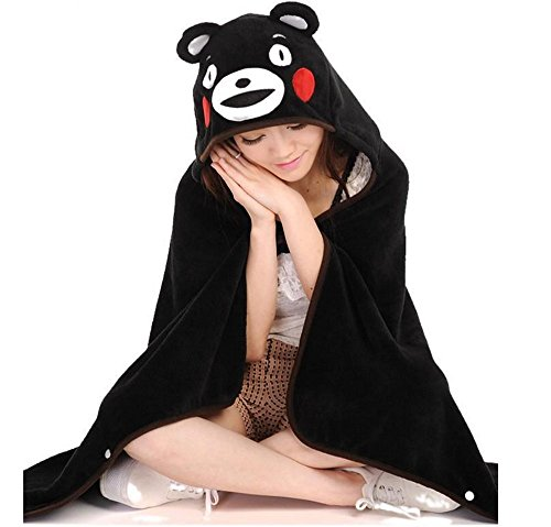 Merlot12 Cute Bear Warm Rest Small Blanket Black Soft Coral Fleece Plush Hooded Cloak Shawl Cape Wrap Children Girl Gift (Adult Hooded Blanket compare prices)