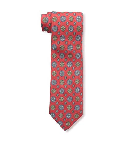 Rossovivo Men's Medallion Tie, Red