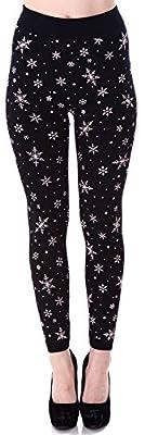 Junior's Winter Warm Snowflake Reindeer Printed Fleece Lined Leggings