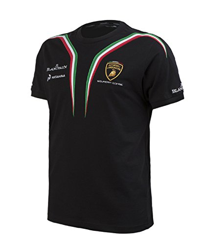 【 Lamborghini Squadra Corse 】 ランボルギーニ スクアドラ コルセ オフィシャル Tシャツ (ブラック, L身幅53cm 着丈70cm)