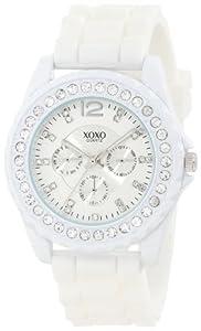 XOXO Women's XO8040 Rhinestone Accent White Silicone Strap Watch
