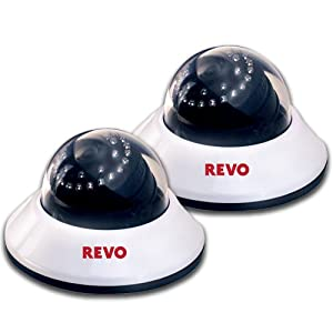 Revo RCDS30-2BNDL 600TVL Indoor Dome Surveillance Cameras with 80-Feet Night Vision (2-Pack)