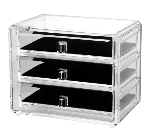 Deluxe 3-Drawer Acrylic Jewelry Chest with Removable Drawers and Liners