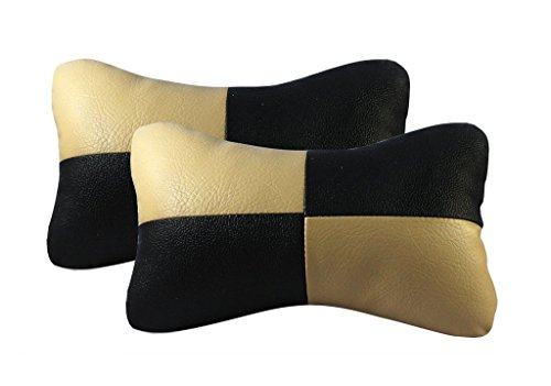 Vheelocityin Car Neck Cushion / Pillow Black and Beige