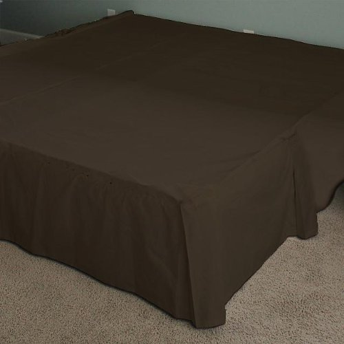 100% Egyptian Cotton 300 Expanded Queen Bedskirt One Pcs 24Inches Drop,Chocolate Solid front-1089433
