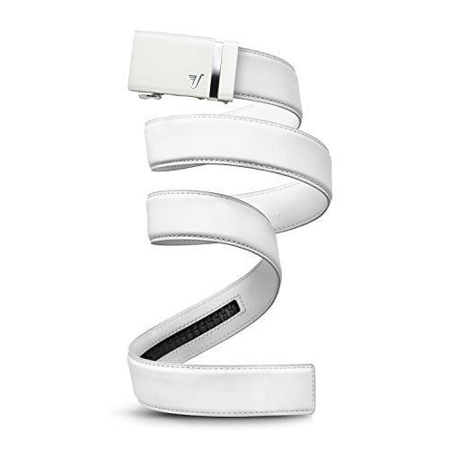 Mission Belt Men's Ratchet Belt - Alpine 40 - White Buckle / White Leather, Large (36 - 38)