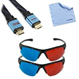 EZOWare 6FT HDMI Flat Cable + 2X 3D Red/Cyan Glasses for Panasonic; Sharp; Toshiba; Samsung; Sony; Sonic HDTV, Plasma TV, LCD TV; Bluray DVD, HD DVD watching 3D Movies & XBOX 360, PS3 Playing Games(Package include a Microfiber Cleaning cloth)