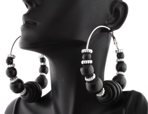 Black Poparazzi Wooden Honeycomb Style 2.75 Inch Hoop Earrings with Mini Balls and Loops