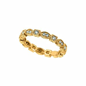 14 Karat Yellow Gold Stackable Stack Motif Ring Enhanced With Briliant Near Colorless Diamonds. (GH-Color SI-Clarity 0.38-Carat)