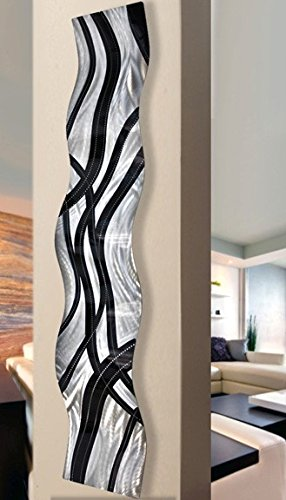 Abstract Silver and Black Metallic Wall Sculpture Accent - Contemporary Modern Home Office Decor Metal Art Hanging - Crossroads Wave by Jon Allen - 46