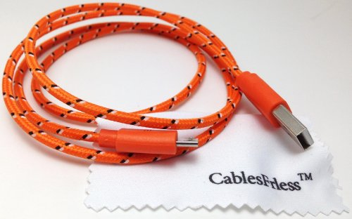 Cablesfrless 3Ft Braided High Quality Durable Micro B 2.0 Usb Charging / Data Sync Cable Fits Android, Windows Phone, Samsung Galaxy S5, And Other Micro Usb 2.0 Compatible Devices (Orange)