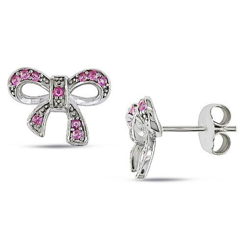 Sterling Silver, Pink Sapphire Earrings