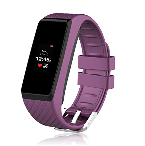 InChor Smart Bracelet IP67 Waterproof Colorful OLED Touchscreen Display Fitness Tracker Bluetooth 4.0 (Purple)