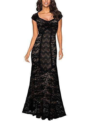 Miusol Women's Elegant Deep-V Neck Floral Lace Wedding Party Maxi Dress
