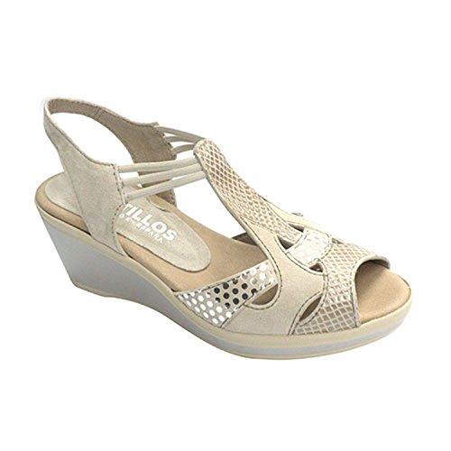 Crocodile sandali stampa donna Pitillos beig taille 39