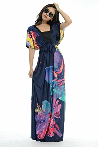 Women Plus Size Floral Maxi Bohemian Beach Summer Long Dress M- 6Xl (Xxl)