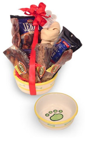 Dog Gift Bowl Filled With Lots Of Healthy And Super Tasty Treats. It's What They Really Want!