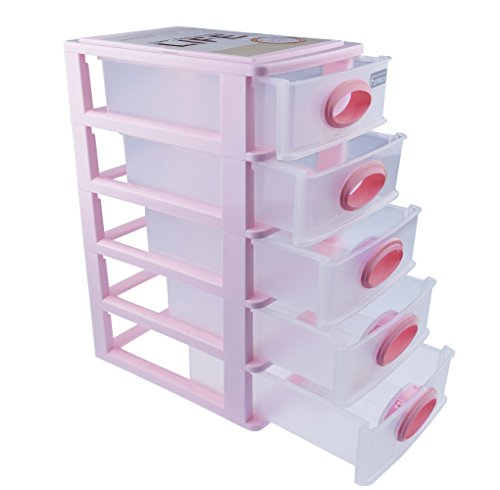 Cand Desktop 5-drawer Storage Unit for Office (pink) (Pink Storage compare prices)