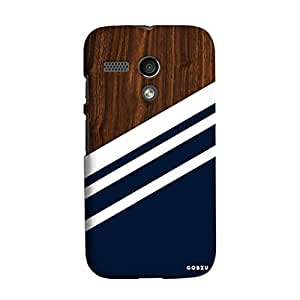 Gobzu Printed Back Covers for Moto G1 / Moto G (1st Gen) - Wood Blue White